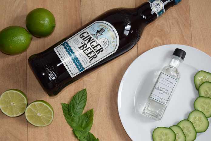 Cucumber, lime, ginger beer and JJ Whitley Elderflower Gin