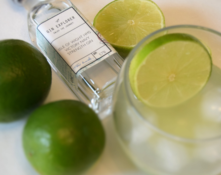 Gin Explorer Gimlet gin cocktail made with fresh limes and HMS Victory Gin